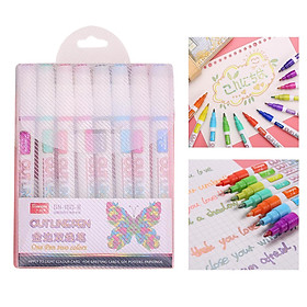 0.7mm Double Line Outline Pen Fluorescent Glitter Marker Pen Stationery for Card Making, Birthday Greeting, Scrap Booking, Painting, DIY Art Crafts
