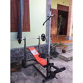 Giàn tạ đa năng 8210 Zasami kèm 50kg tạ gang , đòn tạ 1m5, 1 găng tay tập tạ ( Màu ngẫu nhiên )