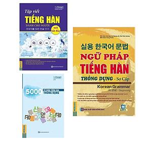 Combo 3 Cuốn Sách Học Tiếng Hàn: Ngữ Pháp Tiếng Hàn Thông Dụng - Sơ Cấp (Dùng APP MCBooks) + 5000 Từ Vựng Tiếng Hàn Thông Dụng + Tập Viết Tiếng Hàn Dành Cho Người Mới Bắt Đầu / Tặng Kèm Bookmark Happy Life