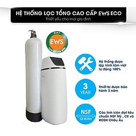 Hệ thống lọc nước tổng cho ngôi nhà EWS Eco lọc và làm mềm nước loại bỏ độ cứng, hoàn nguyên tự động, công suất 2000 lít/giờ