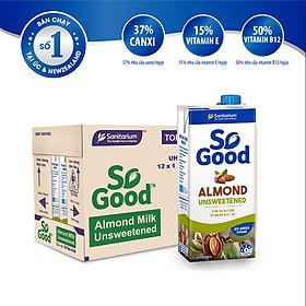 Thùng 12 hộp sữa hạt hạnh nhân không đường So Good Úc 1L/hộp, làm từ hạnh nhân Úc, calo thấp