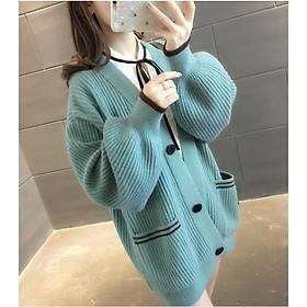 Áo khoác len 2 túi phối màu xanh- đen Ak04