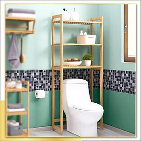 Kệ gỗ để đồ sau Toilet gỗ tự nhiên chống thấm nước, mối mọt, thiết kế hiện đại, đa chức năng