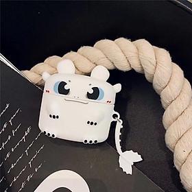 Airpods Pro Case Ốp Bảo Vệ Cho Airpods Pro Hình Rồng Răng Sún_Tặng kèm móc khóa mèo con ngồi hộp