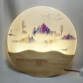 Đèn trang trí gắn tường phòng ngủ, phòng khách LED hình dãy núi 3 màu ánh sáng