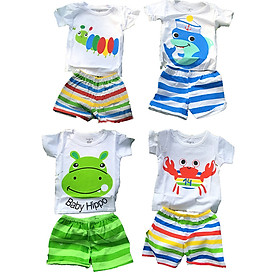 Set 4 bộ quần áo 100% Cotton bé trai