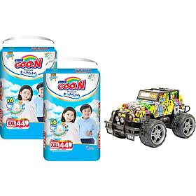 Combo 2 bịch Tã quần Goon Premium cao cấp gói siêu đại XXL44 (15kg ~ 25kg) + Bộ đồ chơi xe điều khiển cao cấp