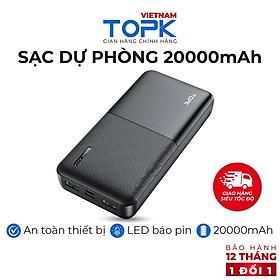 Sạc Dự Phòng TOPK I2009 20000mAh - Cổng USB Kép, Thiết Kế Nhỏ Gọn Tiện Lợi Dành Cho Xiaomi/ Samsung/ iPhone - Hàng chính hãng