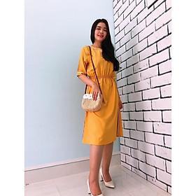 Đầm Suông Bo Eo, Cổ Áo Cách Điệu