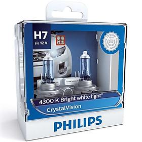 Hộp 2 Bóng Đèn Pha Xe Hơi Philips Crystal Vision H7 12972CVSM 12V 55W 4300K - Hàng Chính Hãng
