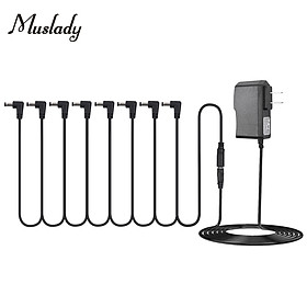Muslady Guitar Effect Pedal Power Supply Adapter with 8 Ways Daisy Chain Cable Power Line Right Angle