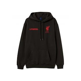 Áo Hoodie Đen Đội Bóng Liverpool Logo Đỏ