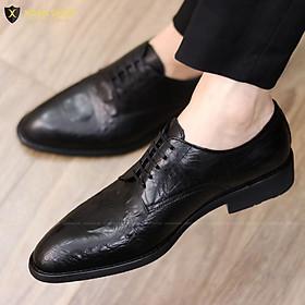 {ĐẾ KHÂU CỰC BỀN} Giày da nam công sở buộc dây - Đế cao 3cm - Mã G021 Màu đen - Hàng Việt Nam