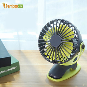 Quạt mini cầm tay để bàn xoay 360 độ Bamboo Life hàng chính hãng Quạt sạc USB đa năng dùng để kẹp nôi, kẹp xe đẩy cho bé, cầm tay, để bàn văn phòng, kẹp xe ô tô