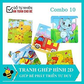 Đồ chơi xếp hình    Từ 250K  COMBO 10 tranh ghép hình thông minh 9 mảnh cho bé trai, bé gái