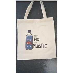 """(Freeship từ 50k)Túi tote """"SAY NO TO PLASTIC"""" chất Canvas Unisex"""