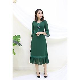 Đầm Thiết kế Đầm xòe Đầm thời trang công sở Đầm trung niên thương hiệu TTV351 xanh rêu - Đầm form A tay chuông phối ren CD