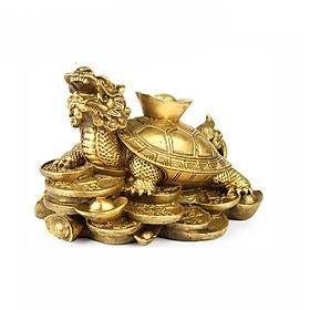 Tượng Long Quy rùa đầu rồng cõng nén vàng bằng đồng thau phong thủy Tâm Thành Phát