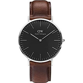 Daniel Wellington Classic St Mawes Silver Watch, 40mm, Leather, for Men and Women