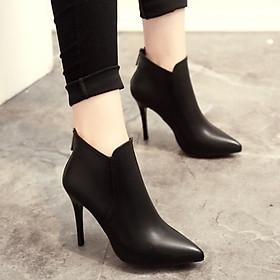 Giày boot cao gót 10 phân da trơn, giày bốt nữ S220