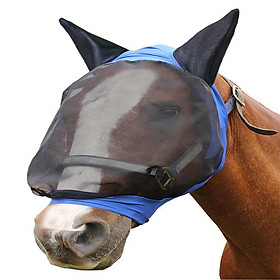 Horse Fly Mask Ear Cover Full Face Armour Mesh Pet Supplies Anti Uv Horse Protector Shield Summer Breathable