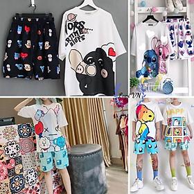 Set Đồ Bộ Hoạt Hình Unisex cartoon 3D Cute -Lapi VN, Đồ Bộ Thun, Set đồ mặc nhà, bộ ngủ, Vải Thun Cotton,Đồ Bộ Nam Nữ