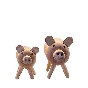 Heo ú – đồ trang trí chú heo bằng gỗ được chạm khắc thủ công