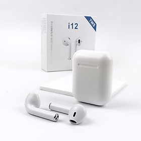 Tai nghe bluetooth không dây i12 TWS 5.0, thiết kế nhỏ gọn, chất lượng âm thanh nổi HIFI, chức năng giảm tạp âm