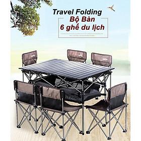 Bộ Bàn 6 ghế Size Lớn xếp gọn đi du lịch cho cả người lớn và trẻ em Travel Light (Nâu Coffee)