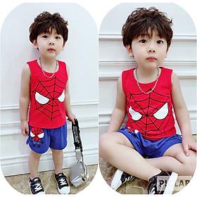 Combo 4 bộ quần áo bé trai người nhện, siêu nhân cho bé từ 8kg đến 35kg, vải cotton 100% 4 chiều, thấm hút mồ hôi, áo sát nách, hình in đẹp không bị phai màu khi giặt