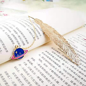 Bookmark Kim Loại Đánh Dấu Sách Hình Lông Vũ Dây Treo - Hành Tinh