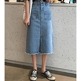 Chân váy JEAN nữ dáng dài dễ thương - CV09