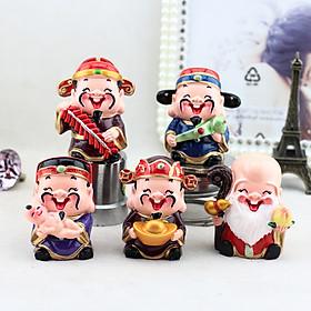 Bộ tượng 5 ông Thần Tài, Phúc, Lộc, Thọ may mắn vui tươi ngộ nghĩnh