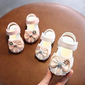 Giày bút bê nơ hoa Bé gái chống trơn K9938#