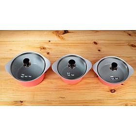 Bộ 3 nồi gốm sứ chống dính đáy từ: nồi 20- 22- 24 cm (kèm 3 nắp kính) tặng 1 cặp nhấc nồi sillicon (màu ngẫu nhiên)