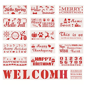 23pcs Welcome Stencil DIY Home Decorative Template Season Festival Number Letter Holiday Birthday Welcome Words Reusable
