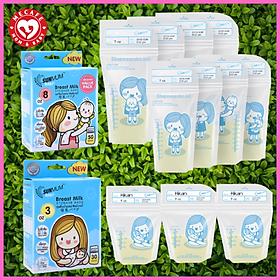 Túi trữ/đựng sữa sunmum (30 túi 100ml & 50 túi 250ml) + tặng 5 zipper 20x30cm