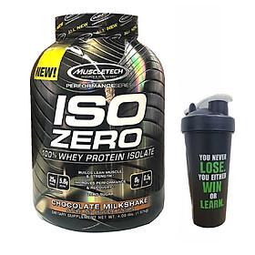 Combo Sữa tăng cơ ISO ZERO 100% Whey Protein Isolate của Muscle Tech hỗ trợ tăng cơ giảm cân đốt mỡ hương Chocolate hộp 4lbs & Bình lắc 600 ml (Màu Ngẫu Nhiên)