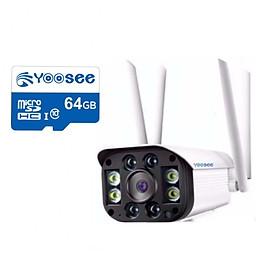 camera wifi yoosee ngoài trời 1080p 4 râu kèm thẻ 64gb - camera ip yoosee 3.0mp ngoài trời chống nước có mầu ban đêm - hàng nhập khẩu
