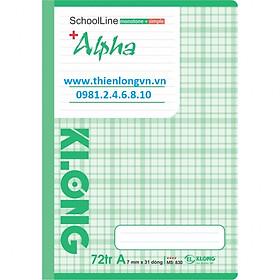 Vở kẻ ngang Alpha - 72 trang; Klong 830 bìa xanh lá