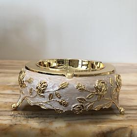 Gạt tàn thuốc họa tiết hoa nổi vẽ vàng  bằng hợp kim bọc men cao cấp phong cách tân cổ điển sang trọng, đẳng cấp