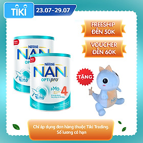Combo 2 lon sữa bột Nestlé NAN OPTIPRO  4 HMO lon 900g + Tặng Gối mền kỳ nhông