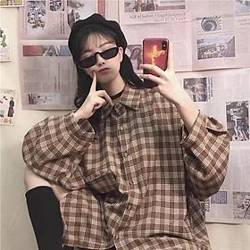 Áo sơ mi kẻ caro nữ tay dài form thụng Ulzzang phong cách Unisex hiphop RÔ STORE SM07