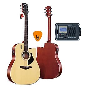 [Gắn EQ] Đàn Guitar Acoustic Rosen G12 Màu Gỗ Dáng D và EQ Mings AGA MET-B12 (Đàn đã gắn sẵn EQ) - Phân Phối Chính Hãng - Kèm Móng Gảy DreamMaker