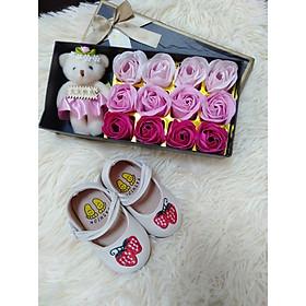 giày búp bê thêu hình dâu cho bé gái size 16-20cm cực yêu