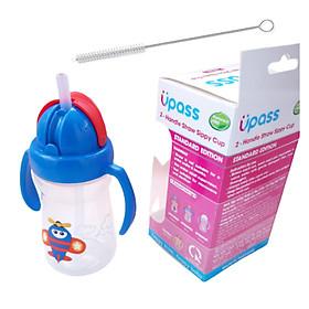 Bình tập uống cho bé từ 6 tháng Upass 150ml tặng kèm cọ rửa ống hút