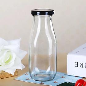 Chai thủy tinh nắp thiếc dày đẹp đựng sữa, sinh tố, nước hoa quả sạch sẽ, an toàn
