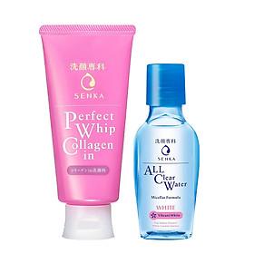 Combo Sữa rửa mặt ẩm mịn và săn chắc da Senka Perfect Whip Collagen In 120g + Nước tẩy trang Senka All Clear White 70ml