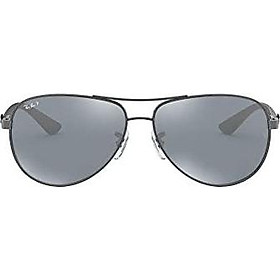 Ray-Ban Men's RB8313 Aviator Carbon Fiber Sunglasses, Shiny Gunmetal/Polarized Blue Mirror Silver, 61 mm