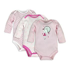 Set 3 body dài tay cho bé sơ sinh, quần áo thu đông mẫu cô gái cho bé